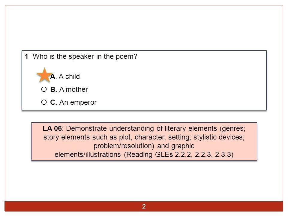 1 Who is the speaker in the poem? O A. A child O B. A mother O C. An emperor 1 Who is the speaker in the poem? O A. A child O B. A mother O C. An empe