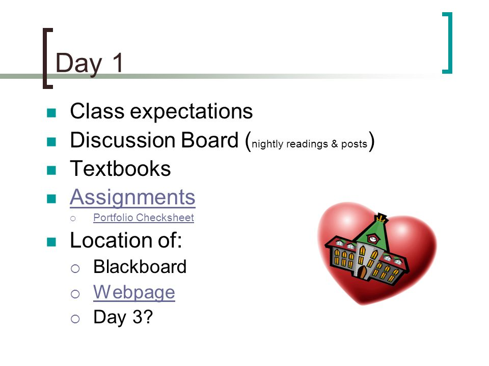 Class expectations Discussion Board ( nightly readings & posts ) Textbooks Assignments Portfolio Checksheet Location of: Blackboard Webpage Day 3? Day