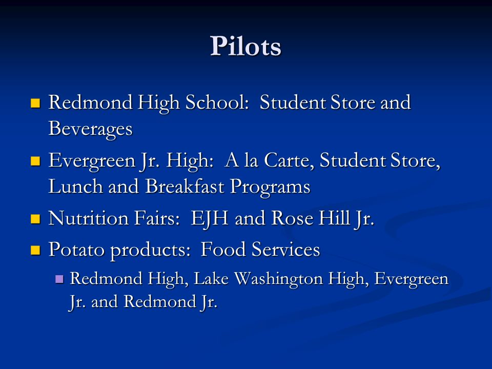 Pilots Redmond High School: Student Store and Beverages Redmond High School: Student Store and Beverages Evergreen Jr.