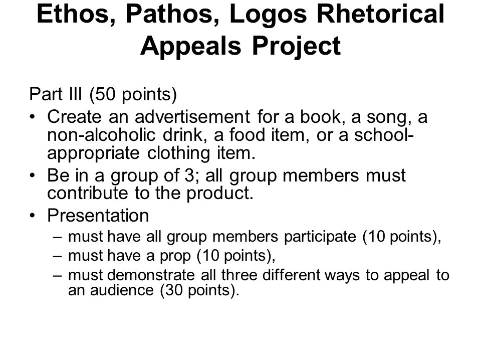 Ethos, Pathos, Logos Rhetorical Appeals Project Part III (50 points) Create an advertisement for a book, a song, a non-alcoholic drink, a food item, o
