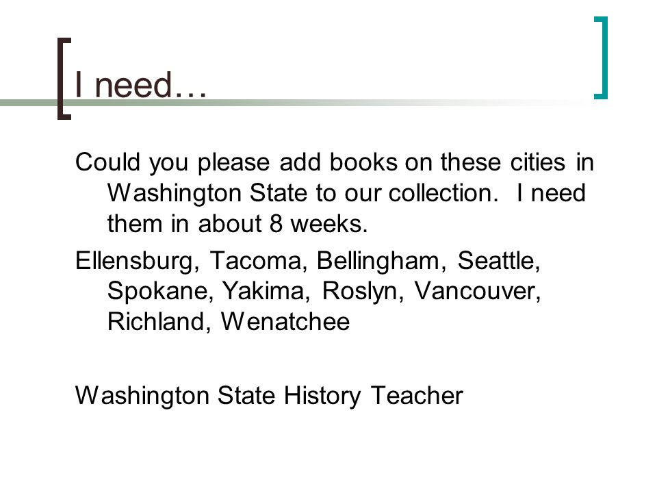 I need… Could you please add books on these cities in Washington State to our collection.