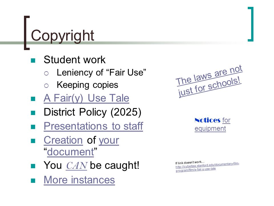 Copyright Student work Leniency of Fair Use Keeping copies A Fair(y) Use Tale District Policy (2025) Presentations to staff Creation of yourdocument C