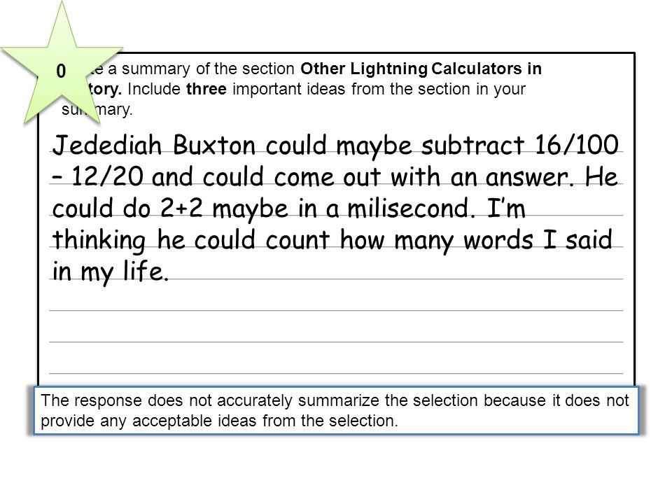 5 Write a summary of the section Other Lightning Calculators in History. Include three important ideas from the section in your summary. 5 Write a sum