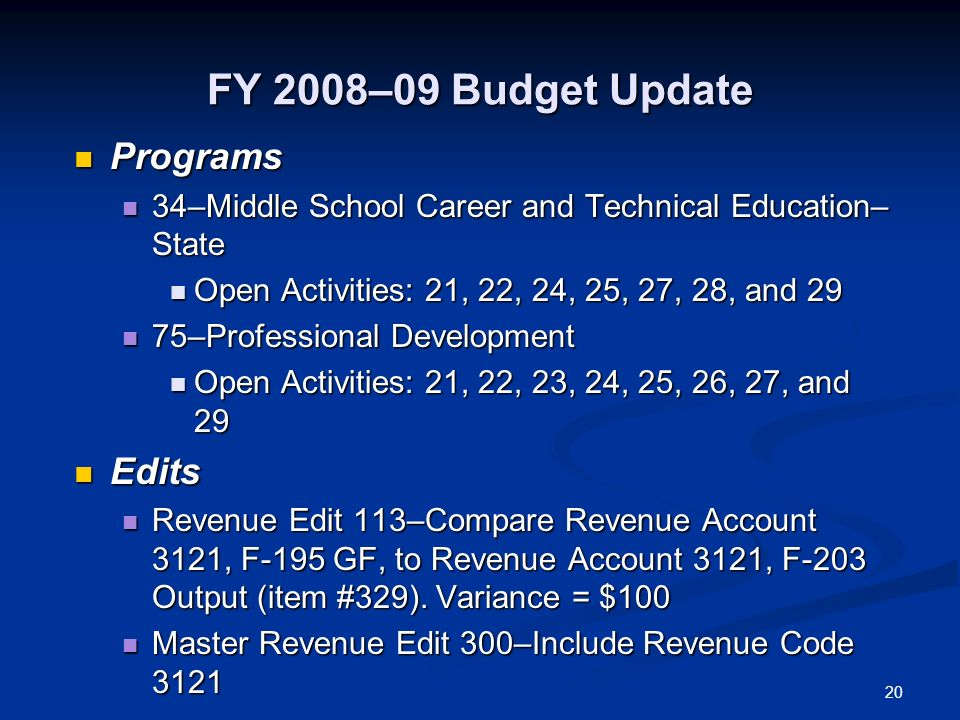 20 FY 2008–09 Budget Update Programs Programs 34–Middle School Career and Technical Education– State 34–Middle School Career and Technical Education–
