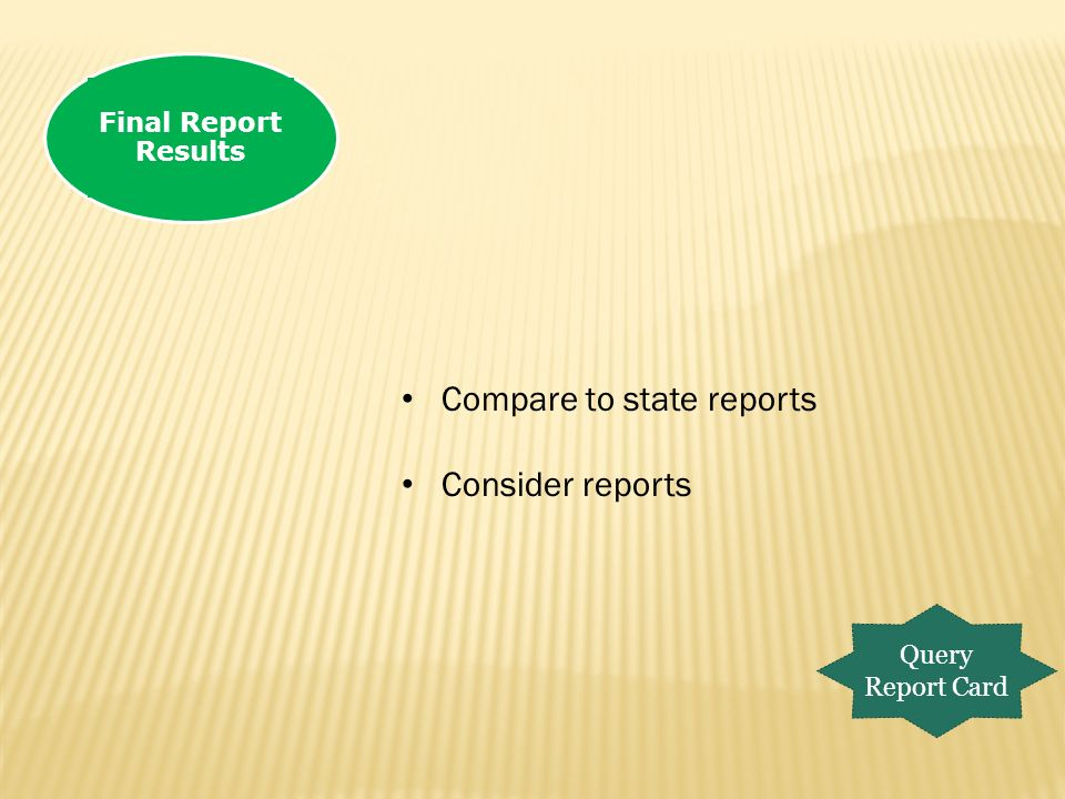 Final Report Results Query Report Card Compare to state reports Consider reports