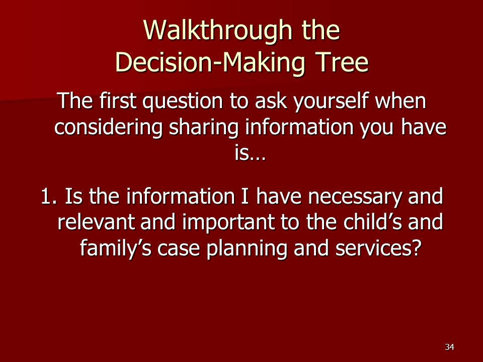 34 Walkthrough the Decision-Making Tree The first question to ask yourself when considering sharing information you have is… 1.