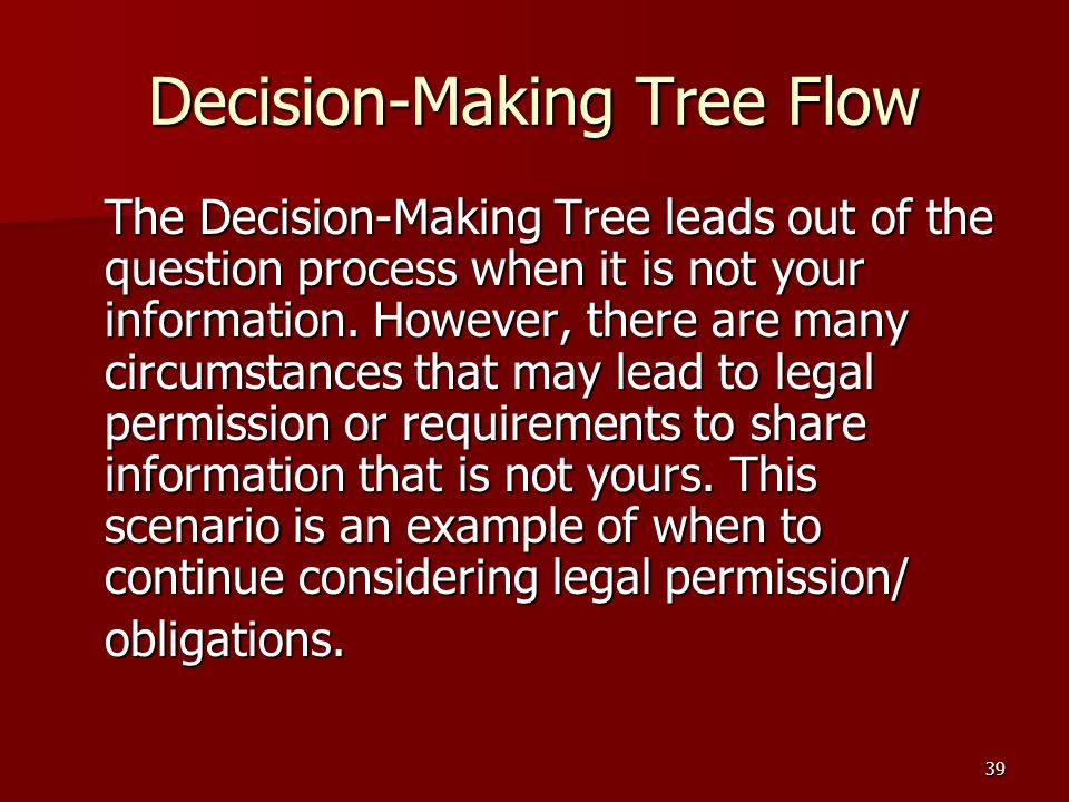 39 Decision-Making Tree Flow The Decision-Making Tree leads out of the question process when it is not your information.