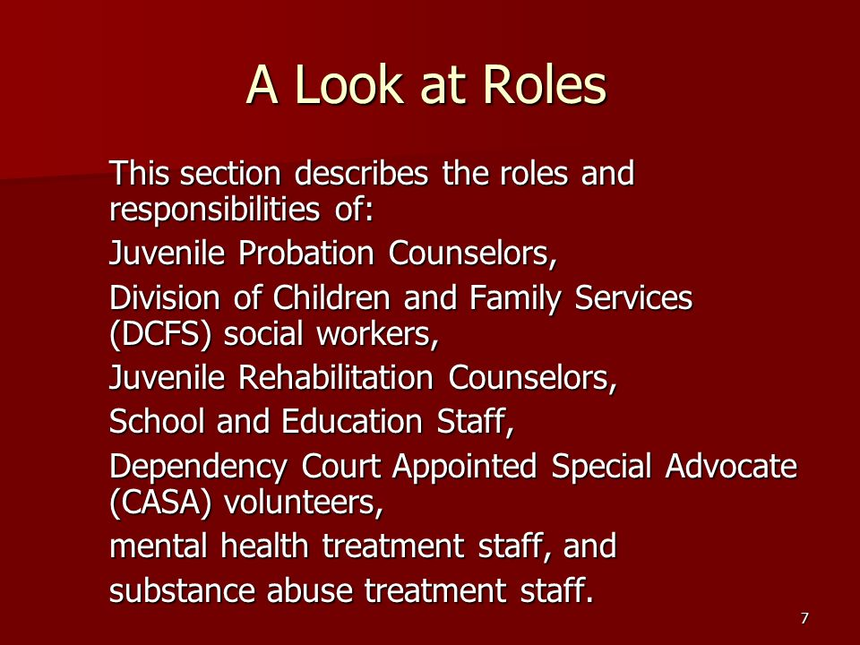 7 A Look at Roles This section describes the roles and responsibilities of: Juvenile Probation Counselors, Division of Children and Family Services (DCFS) social workers, Juvenile Rehabilitation Counselors, School and Education Staff, Dependency Court Appointed Special Advocate (CASA) volunteers, mental health treatment staff, and substance abuse treatment staff.