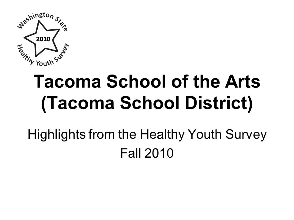 Current Illegal Drug Use Percent of students who report using illegal drugs in the past 30 days (not including alcohol or tobacco) Source: Healthy Youth Survey 2010Tacoma School of the Arts (Tacoma School District)