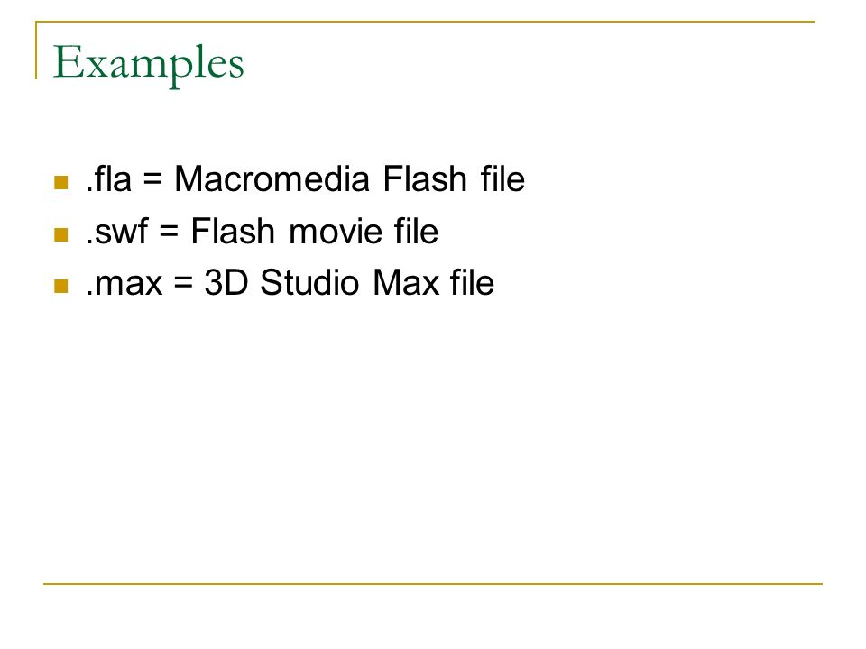 Examples.fla = Macromedia Flash file.swf = Flash movie file.max = 3D Studio Max file