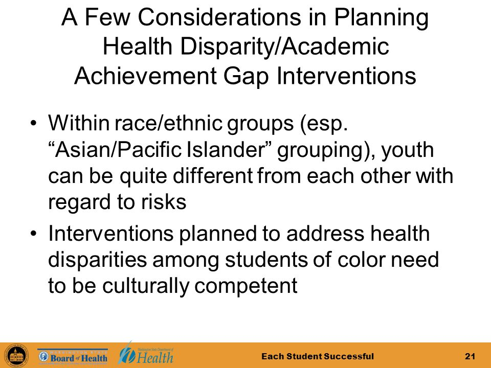 Each Student Successful21 A Few Considerations in Planning Health Disparity/Academic Achievement Gap Interventions Within race/ethnic groups (esp.