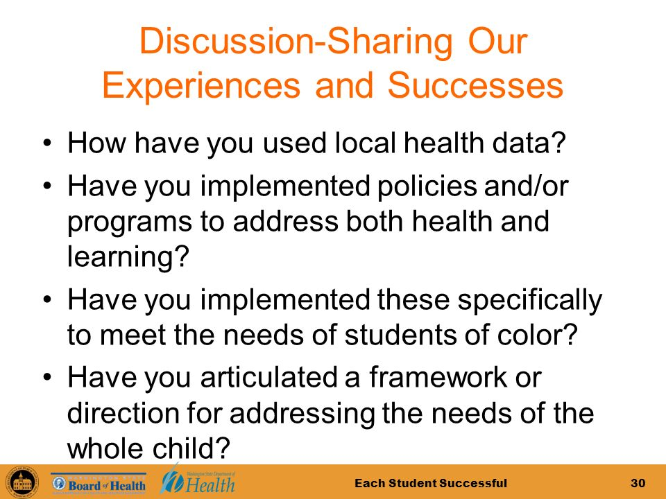 Each Student Successful30 Discussion-Sharing Our Experiences and Successes How have you used local health data.