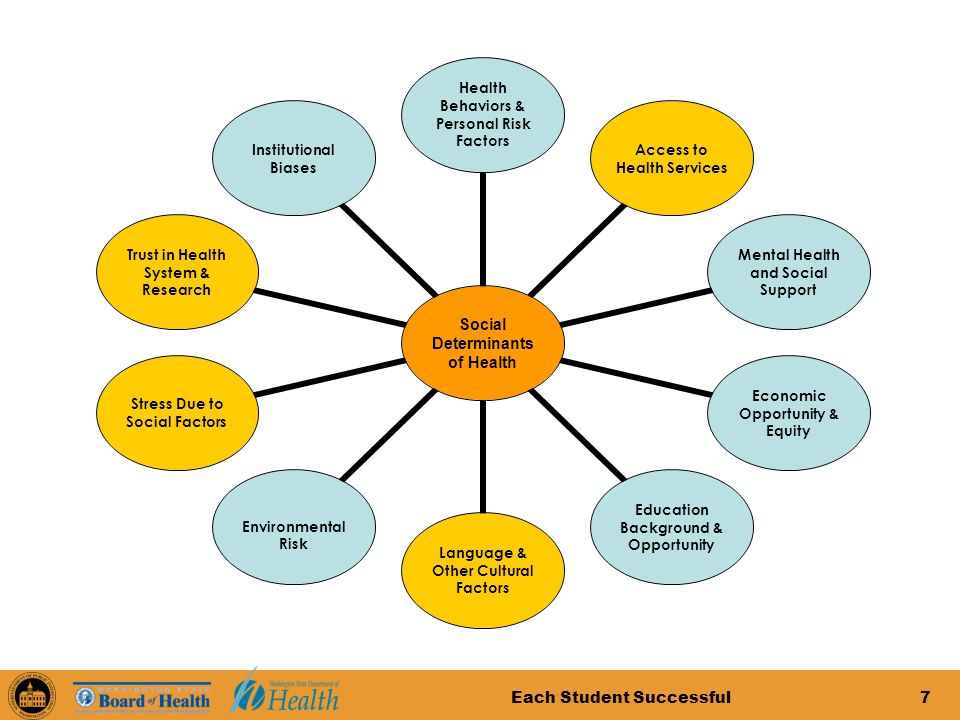 Each Student Successful7 Social Determinants of Health Health Behaviors & Personal Risk Factors Access to Health Services Mental Health and Social Support Economic Opportunity & Equity Education Background & Opportunity Language & Other Cultural Factors Environmental Risk Stress Due to Social Factors Trust in Health System & Research Institutional Biases