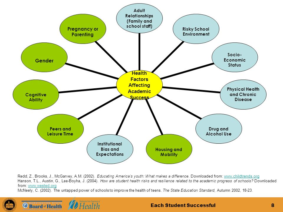 Each Student Successful8 Health Factors Affecting Academic Success Adult Relationships (Family and school staff) Risky School Environment Socio- Economic Status Physical Health and Chronic Disease Drug and Alcohol Use Housing and Mobility Institutional Bias and Expectations Peers and Leisure Time Cognitive Ability Gender Pregnancy or Parenting Redd, Z., Brooks, J., McGarvey, A.M.