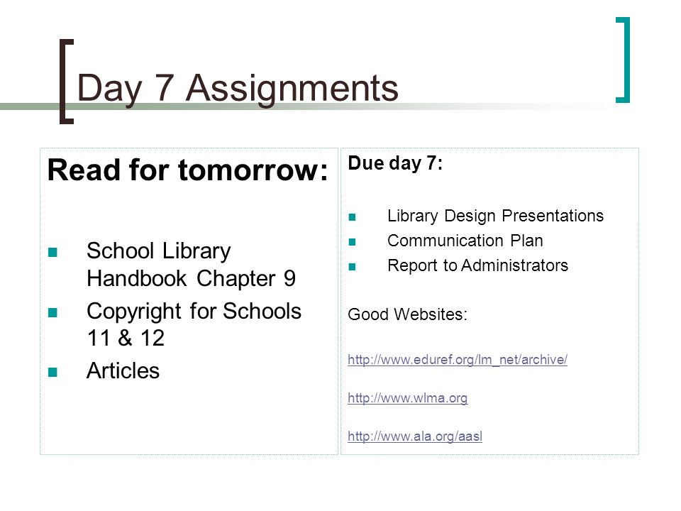 Day 7 Assignments Read for tomorrow: School Library Handbook Chapter 9 Copyright for Schools 11 & 12 Articles Due day 7: Library Design Presentations Communication Plan Report to Administrators Good Websites: http://www.eduref.org/lm_net/archive/ http://www.wlma.org http://www.ala.org/aasl