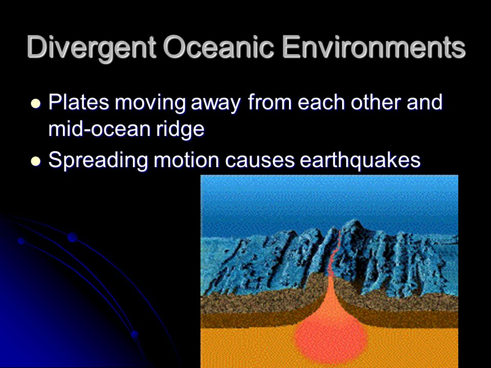 Divergent Oceanic Environments Plates moving away from each other and mid-ocean ridge Plates moving away from each other and mid-ocean ridge Spreading