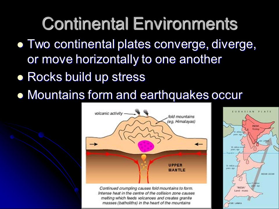 Continental Environments Two continental plates converge, diverge, or move horizontally to one another Two continental plates converge, diverge, or mo