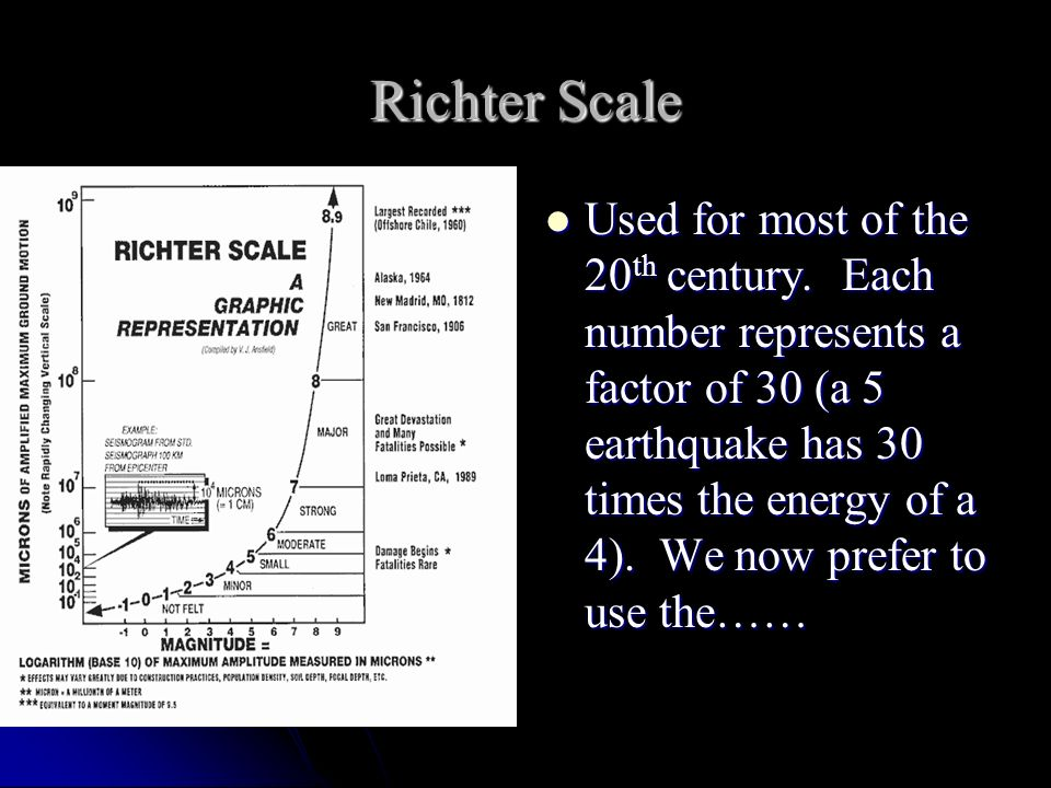 Richter Scale Used for most of the 20 th century. Each number represents a factor of 30 (a 5 earthquake has 30 times the energy of a 4). We now prefer