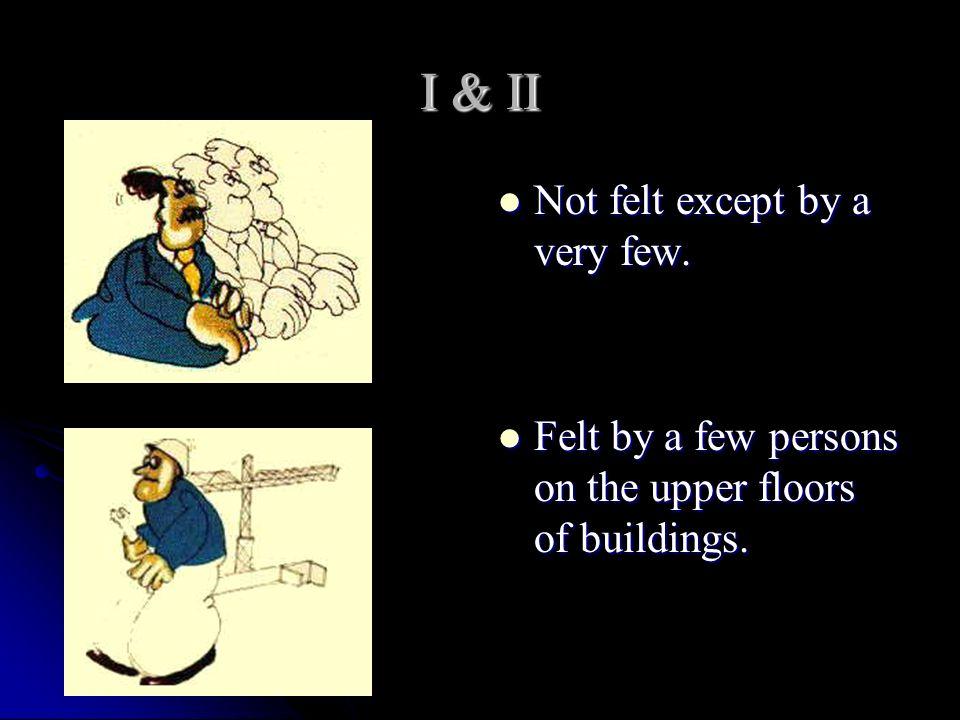 I & II Not felt except by a very few. Not felt except by a very few. Felt by a few persons on the upper floors of buildings. Felt by a few persons on