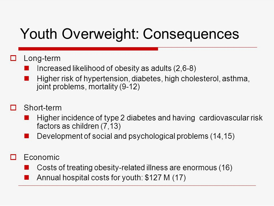 Youth Overweight: Consequences Long-term Increased likelihood of obesity as adults (2,6-8) Higher risk of hypertension, diabetes, high cholesterol, as