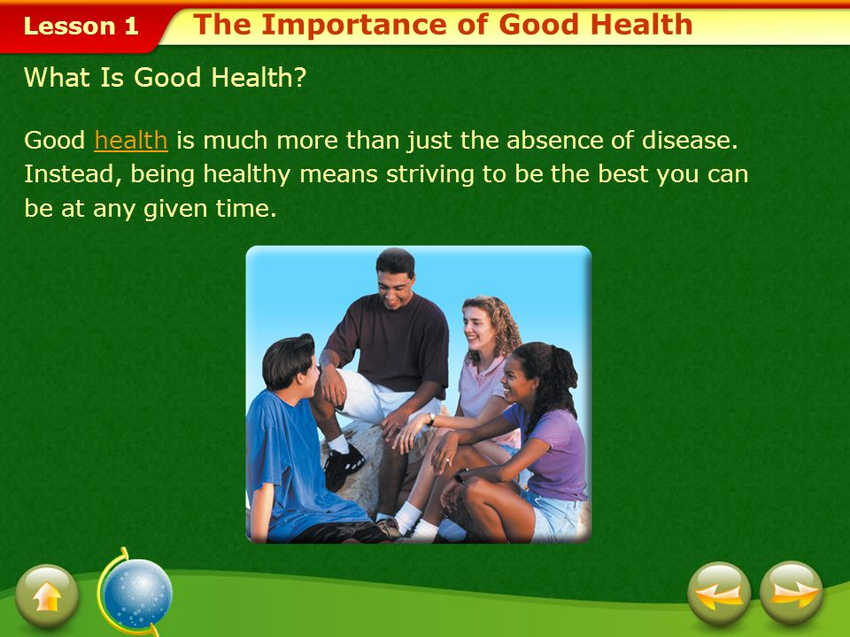 Lesson 1 Relate the nations health goals and objectives in Healthy People 2010 to individual, family, and community health. Develop evaluation criteri