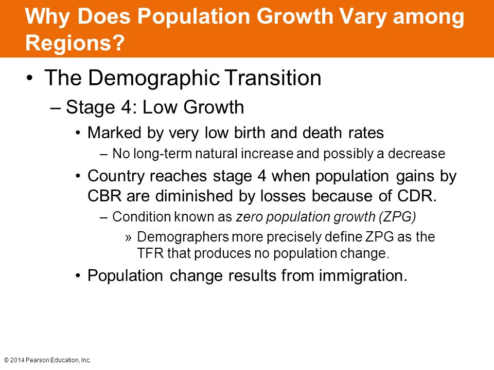 © 2014 Pearson Education, Inc. The Demographic Transition –Stage 4: Low Growth Marked by very low birth and death rates –No long-term natural increase