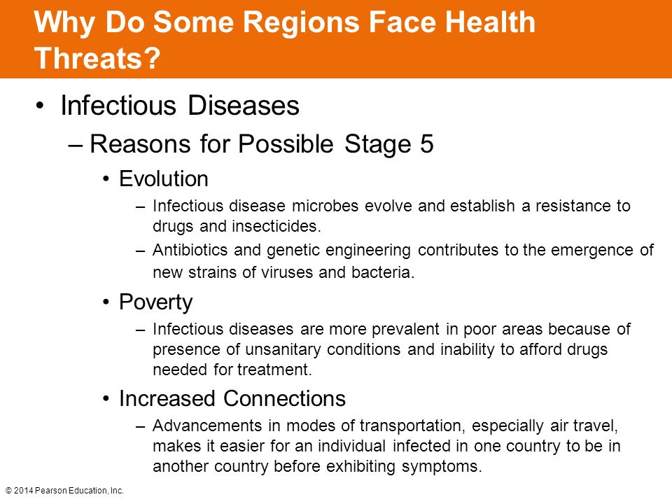 Why Do Some Regions Face Health Threats? Infectious Diseases –Reasons for Possible Stage 5 Evolution –Infectious disease microbes evolve and establish