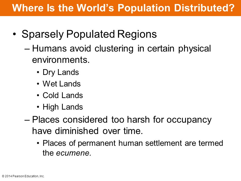 Where Is the Worlds Population Distributed? Sparsely Populated Regions –Humans avoid clustering in certain physical environments. Dry Lands Wet Lands