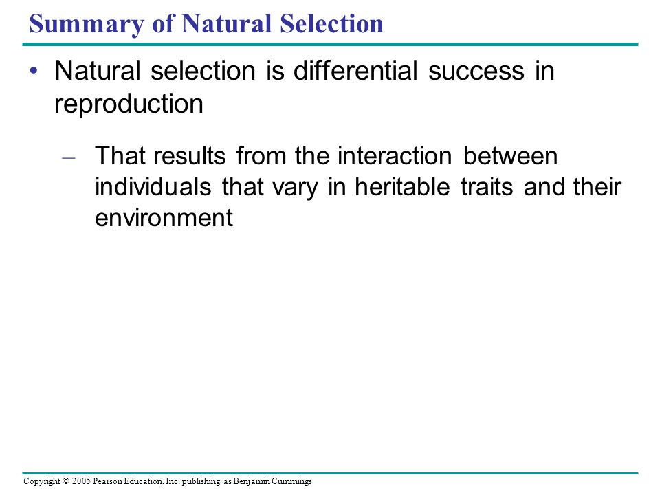 Copyright © 2005 Pearson Education, Inc. publishing as Benjamin Cummings Summary of Natural Selection Natural selection is differential success in rep