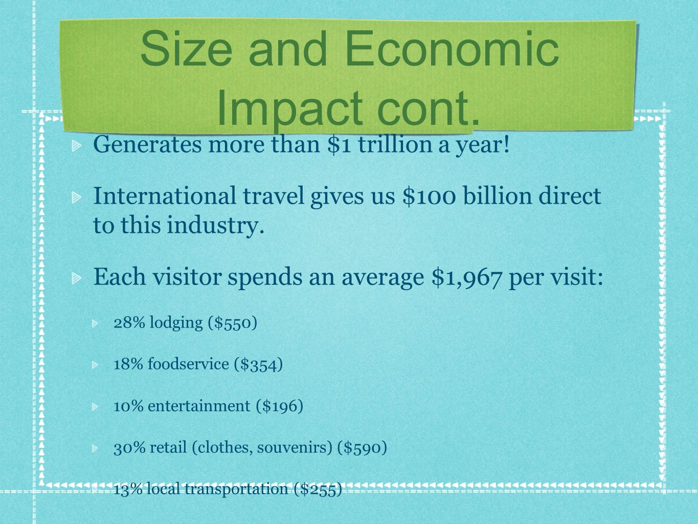 Size and Economic Impact cont. Generates more than $1 trillion a year.