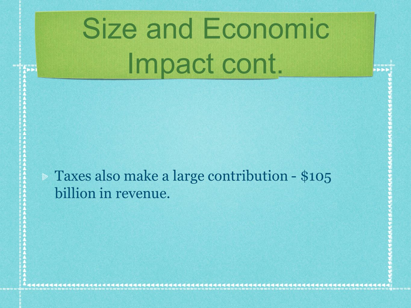 Size and Economic Impact cont. Taxes also make a large contribution - $105 billion in revenue.