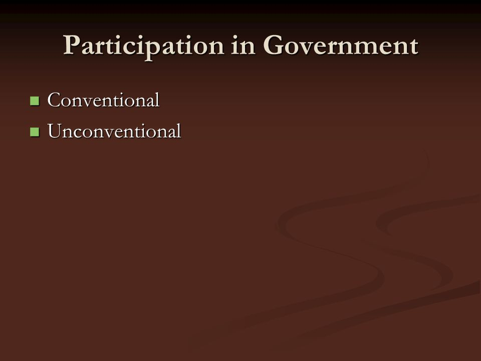 Participation in Government Conventional Conventional Unconventional Unconventional