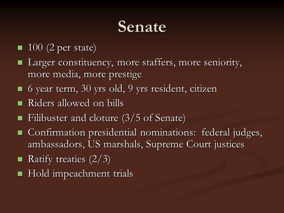 Senate 100 (2 per state) 100 (2 per state) Larger constituency, more staffers, more seniority, more media, more prestige Larger constituency, more sta