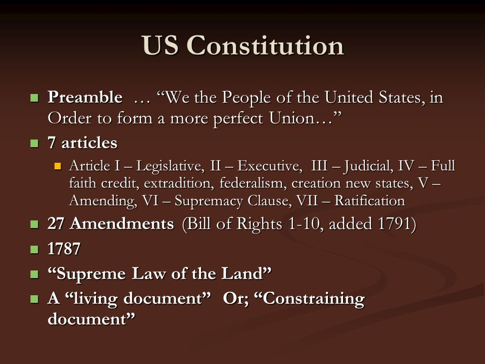US Constitution Preamble … We the People of the United States, in Order to form a more perfect Union… Preamble … We the People of the United States, i