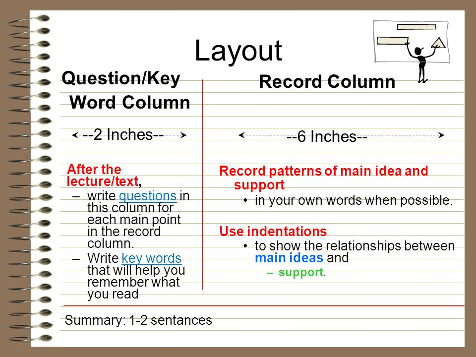 Layout Question/Key Word Column --2 Inches-- After the lecture/text, –write questions in this column for each main point in the record column. –Write