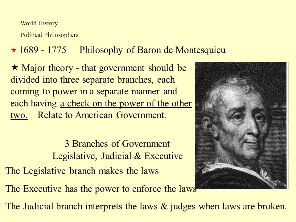 World History Political Philosophers Philosophy of Baron de Montesquieu 1689 - 1775 Major theory - that government should be divided into three separa