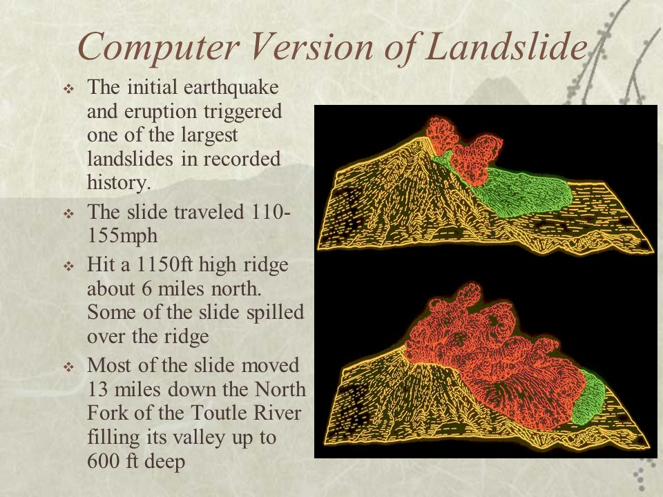Computer Version of Landslide The initial earthquake and eruption triggered one of the largest landslides in recorded history. The slide traveled 110-