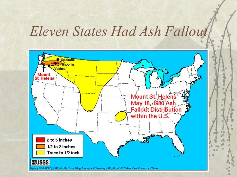 Eleven States Had Ash Fallout