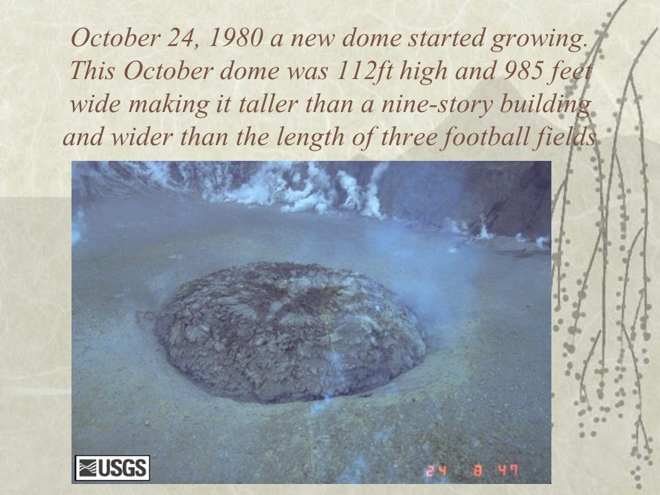 October 24, 1980 a new dome started growing. This October dome was 112ft high and 985 feet wide making it taller than a nine-story building and wider