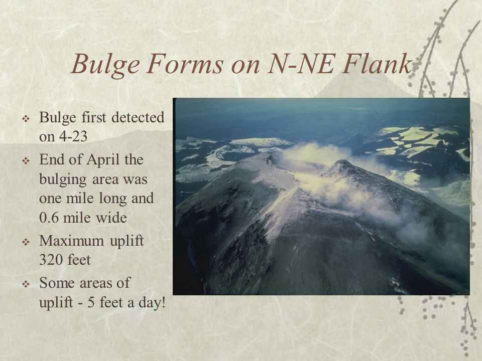 Bulge Forms on N-NE Flank Bulge first detected on 4-23 End of April the bulging area was one mile long and 0.6 mile wide Maximum uplift 320 feet Some