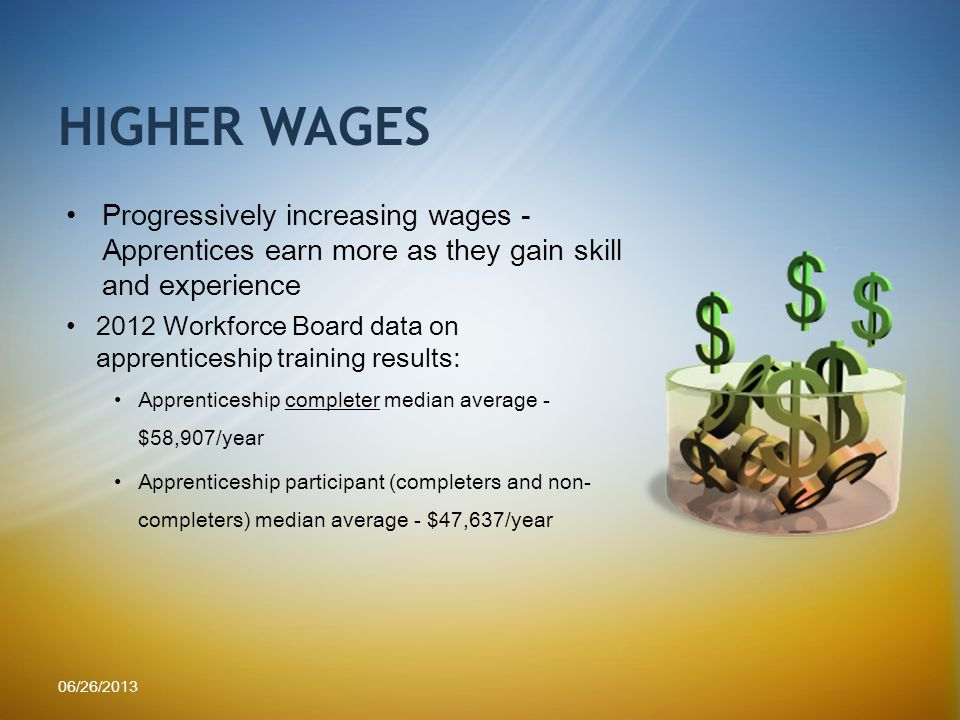 Progressively increasing wages - Apprentices earn more as they gain skill and experience 2012 Workforce Board data on apprenticeship training results: Apprenticeship completer median average - $58,907/year Apprenticeship participant (completers and non- completers) median average - $47,637/year HIGHER WAGES 06/26/2013