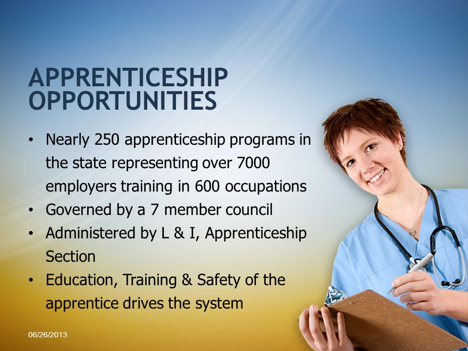 Nearly 250 apprenticeship programs in the state representing over 7000 employers training in 600 occupations Governed by a 7 member council Administer