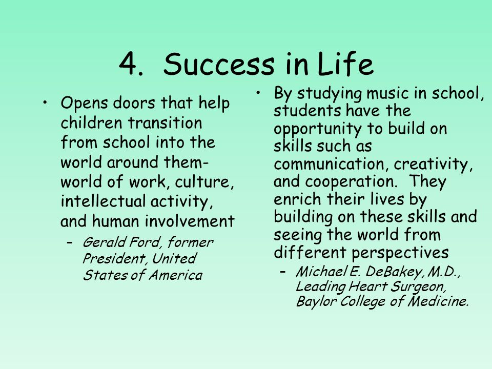 Success in Developing Intelligence-Research Results Continued An Auburn University study found significant increases in overall self-concept of at-risk children participating in an arts program that included music, movement, dramatics, and art, as measured by the Piers-Harris Childrens Self-Concept Scale –N.H.