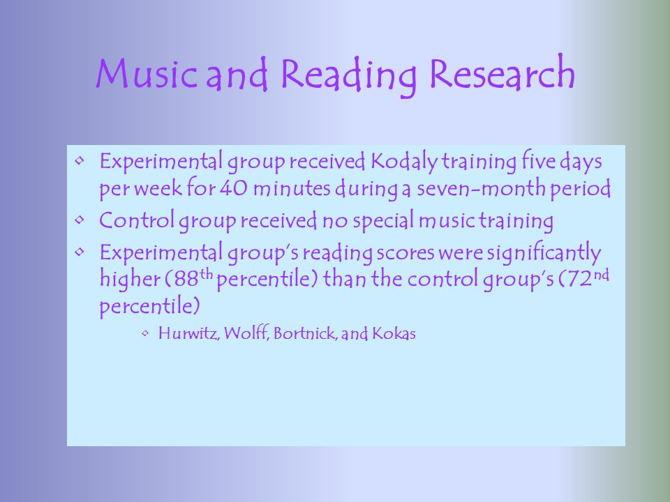 Music and Reading Both music and reading rely on the discrimination of sounds from each other When learning to read, we learn how to relate letters to their spoken sounds Phonemic stage of learning to read is promoted by good pitch discrimination skills (learning association between visual parts of words and their spoken sounds)