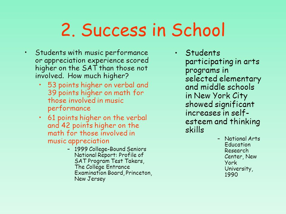 1. Success in Society Every human culture uses music to communicate ideas and ideals The arts are identified as one of the six basic academic subject