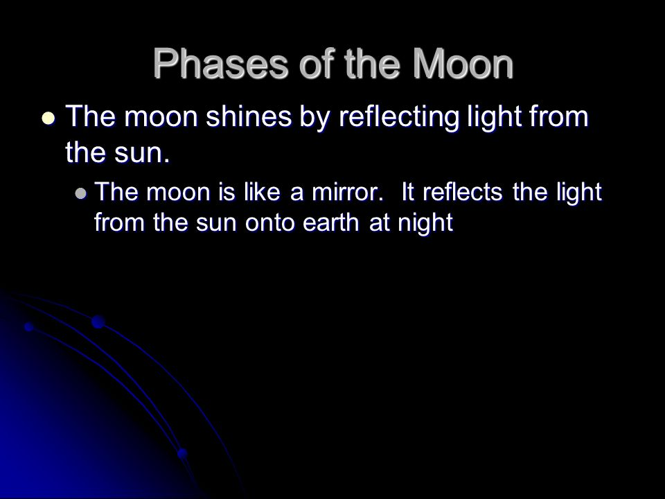 Phases of the Moon The moon shines by reflecting light from the sun. The moon shines by reflecting light from the sun. The moon is like a mirror. It r