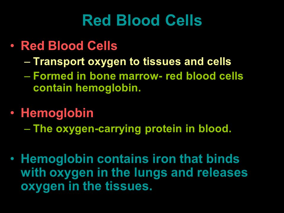 Red Blood Cells –Transport oxygen to tissues and cells –Formed in bone marrow- red blood cells contain hemoglobin. Hemoglobin –The oxygen-carrying pro