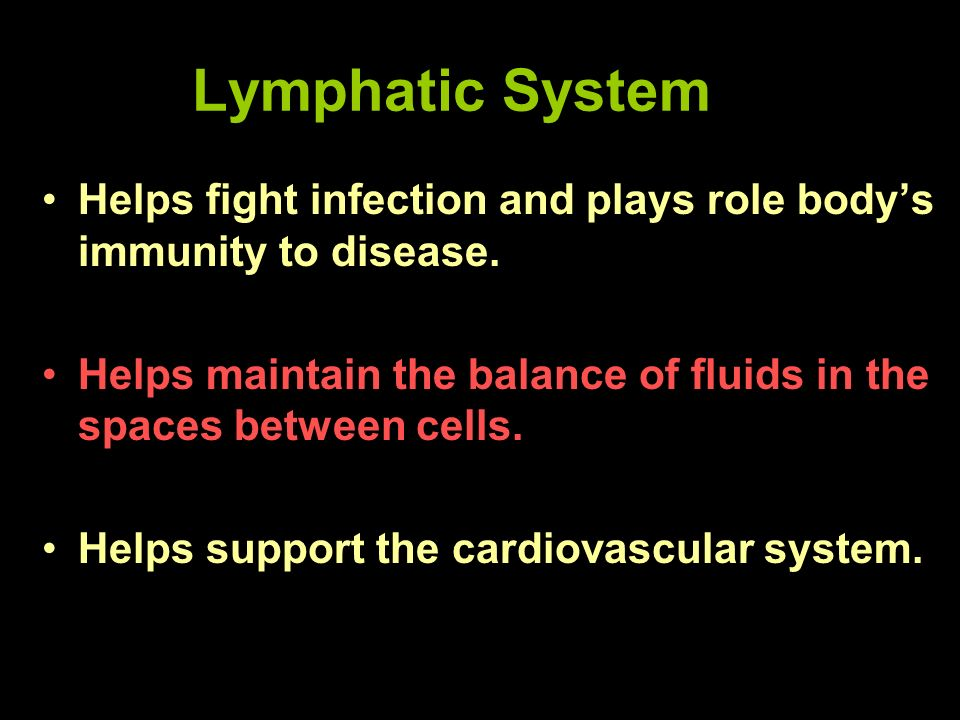 Lymphatic System Helps fight infection and plays role bodys immunity to disease. Helps maintain the balance of fluids in the spaces between cells. Hel