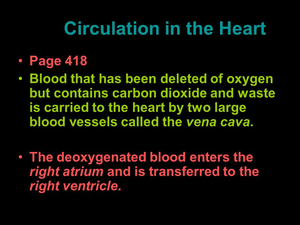 Circulation in the Heart Page 418 Blood that has been deleted of oxygen but contains carbon dioxide and waste is carried to the heart by two large blo
