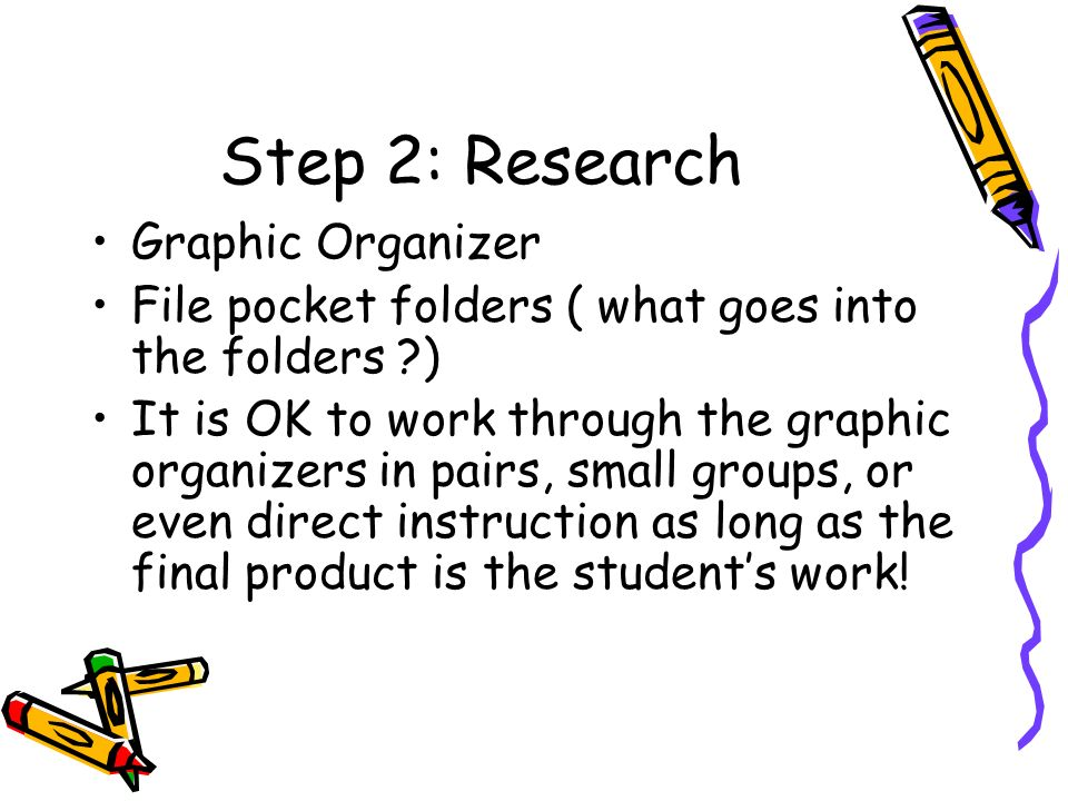 Step 2: Research Graphic Organizer File pocket folders ( what goes into the folders ) It is OK to work through the graphic organizers in pairs, small groups, or even direct instruction as long as the final product is the students work!